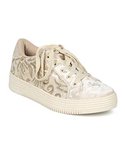 Sneaker Bassa In Velluto Ricamato Con Pizzo Ricamato Da Donna Alrisco - Hf78 By Wild Diva Collection Gold Velluto