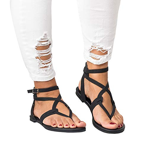 (Womens Flat Strappy Gladiators Sandals Thong Criss Cross Wrap Ankle Strap Open Toe Beach Sandals Black)