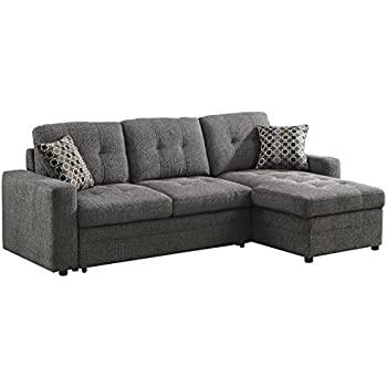 Delightful Coaster Gus Casual Charcoal Sectional Sofa With Tufts, Storage And Pull Out  Bed