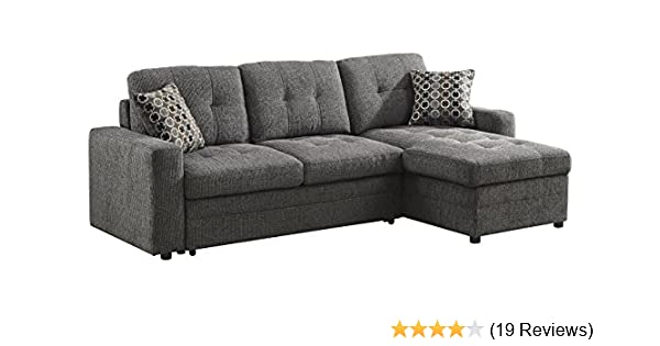 Amazon.com  Gus Sectional Sofa with Pull Out Bed Charcoal  Kitchen   Dining a0a718b98f4c