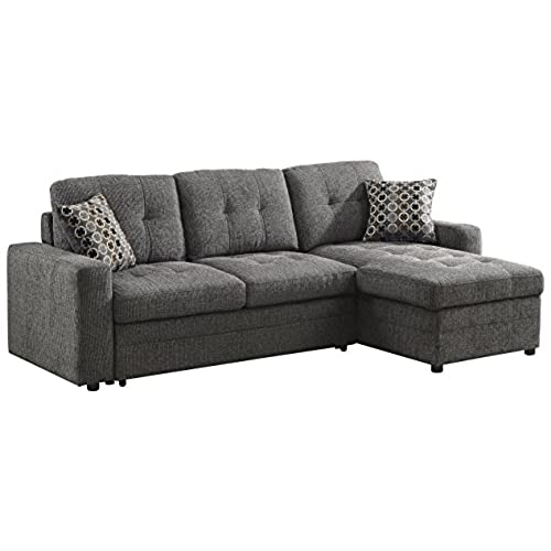 Coaster Gus Casual Charcoal Sectional Sofa With Tufts, Storage And Pull Out  Bed
