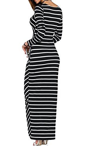 con Dress Donna Eleganti a Fiori Maxi Vestito traspirante in ragazza Vestiti Abito Righe cotton Spiaggia Vestito di Multi Abito per Maniche dress Regalo Senza Stampa Luojida di Rouches A di xzOtwqW0t