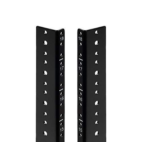 NavePoint 18U Vertical Rack Rail Pair DIY Kit with Hardware, Black ()