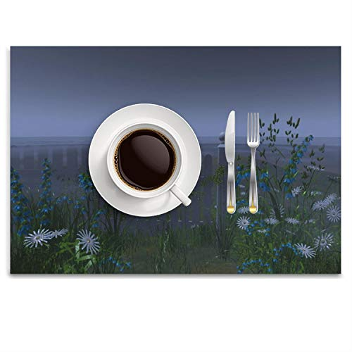 POGResdx Picket Fence Fog and Flowers Placemat Heat-Resistant Washable Table Place Mats for Kitchen Dining Table Decoration 14.8 x 9.9 ()