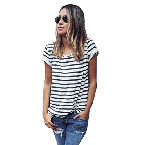 AmyDong Women's T-Shirt, Women's Casual Stripe Short Sleeve Loose Summer Tops Shirt Blouse Teen Short Sleeve O-Neck Rib Striped T Shirt (M, Black)