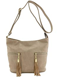 Tassel Accented Double Zip Pocket Crossbody Bag