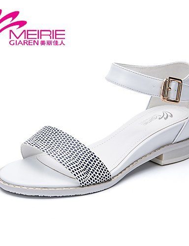 ShangYi Womens Shoes Faux Leather/Leatherette Chunky Heel Heels/Open Toe Sandals Office & Career/Casual Black/White White