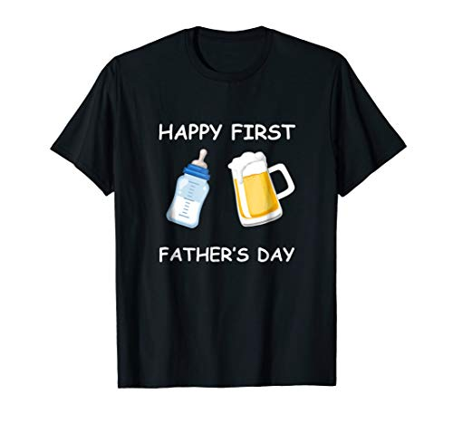 Happy First Fathers Day T-shirt Funny Emoji Men Gift Tee