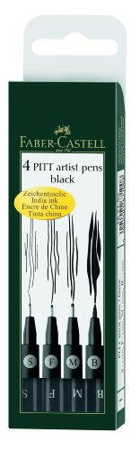 Faber Castel Pitt Artists Pens for Art and Graphics, Set of 4, Black (FC167100)
