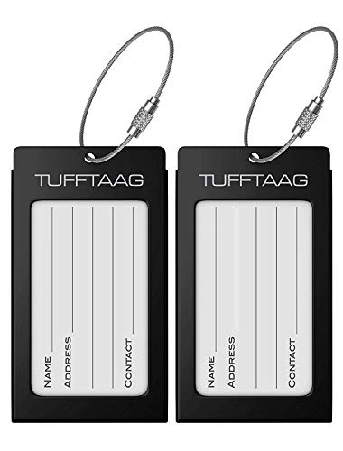 (Luggage Tags Business Card Holder TUFFTAAG PAIR Travel ID Bag Tag - Black)