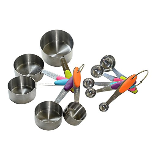 KRPM 10 Piece Measuring Cups and Spoons Set in 18/8 Stainless Steel, Weigh Dry and Liquid Ingredients, Multi Color ()