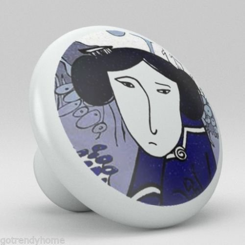 Oriental Lady Japanese Chinese Ceramic Knobs Kitchen Drawer Cabinet Vanity 802