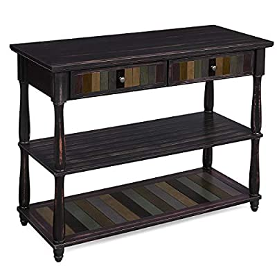 VASAGLE Console Table with Colorful Drawers, 3-Tier Entryway Table with Shelves, for Living Room, Dining Room, Hallway, Assembly Without Tools, Turned Wood Legs, Country Brown - INVITE THEM IN: When you invite your friends and family into your home, let the first thing they see be this beautiful console table-featuring a unique mix of colorful boards surrounded by a country brown, this table is sure to catch eyes VERSATILITY IN A NUTSHELL: One of the best things about an entryway table is that the name is just a suggestion-it can go anywhere, not just the entryway; use it in your living room behind the sofa, in the hallway for photos, or dining room for plates Safety first: supported by solid wood legs, adjustable feet, and Anti-tipping hardware, This Sturdy console table can hold 132 lb. On top and 44 lb. On the shelves - living-room-furniture, living-room, console-tables - 41f9BJ5nsTL. SS400  -