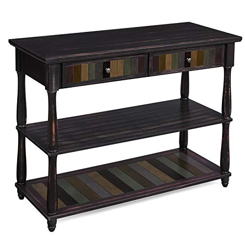 VASAGLE Console Table with Colorful Drawers, 3-Tier Entryway Table with Shelves, for Living Room, Dining Room, Hallway, Assembly Without Tools, Turned Wood Legs, Country Brown ULCT15GL