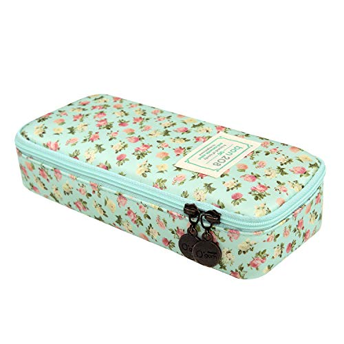 D.Sword Cute Pencil Case for Kid,Big Capacity Pen Bag Student Office Stationery Organizer for College Middle School Grade School,Floral Pencil Pouch Cosmetic Bag Makeup Bag(Light Green with Flowers) by Dragon Sword