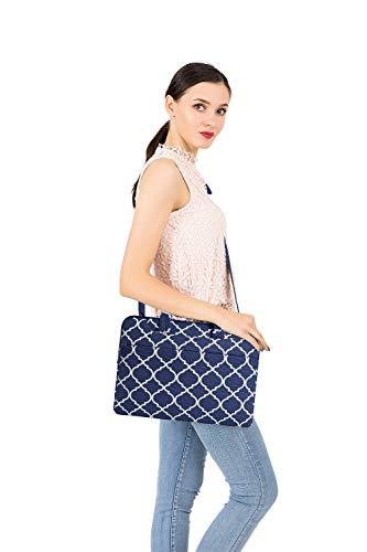 MOSISO Laptop Shoulder Bag Compatible 15-15.6 Inch MacBook Pro, Ultrabook Netbook Tablet, Quatrefoil Canvas Protective Briefcase Carrying Handbag Sleeve Case Cover, Navy Blue by MOSISO (Image #7)