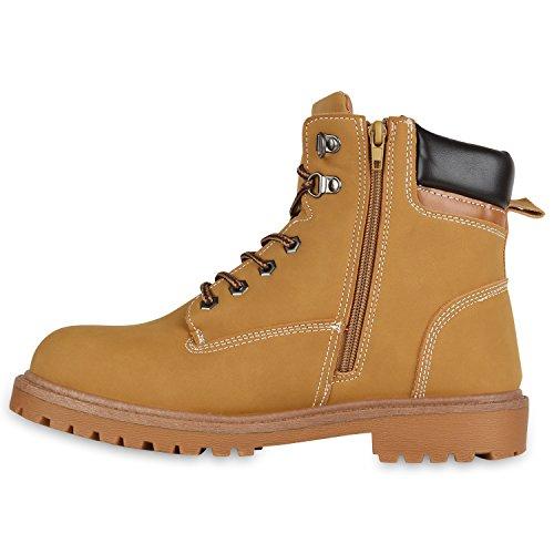 Stiefelparadies Gefütterte Herren Worker Boots Outdoor Schuhe Schnürstiefel Flandell Hellbraun Carlet
