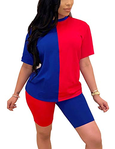 Two Piece Short Set for Women Color Block Short Sleeve Tracksuit Shirt Shorts Jogger Sportswear Set Red&Blue XL