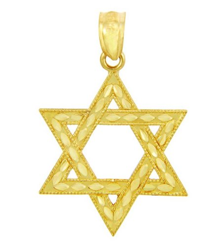 - 10k Gold Judaica Charm Jewish Star of David Pendant (Small)