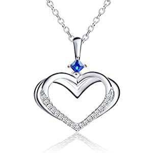 """c65441f79641 Caperci Collar de Mujer Plata de Ley""""Corazón Pariente""""Zafiro Azul en Lab-"""