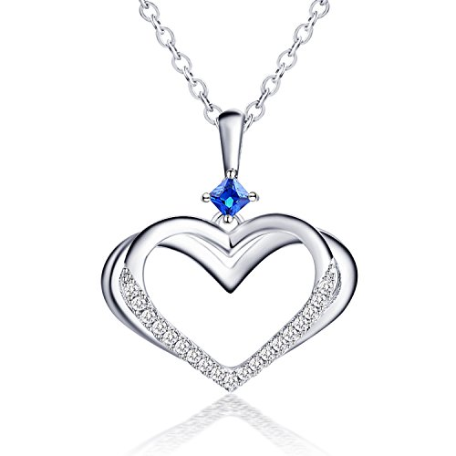 Caperci Sterling Silver Kindred Heart Pendant Necklace with Created Blue Sapphire, 18