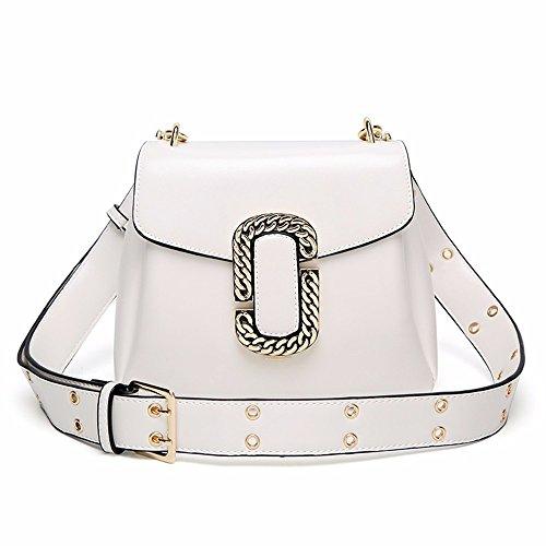 Nueva Amplia correa de hombro Messenger Bag, retro bolsa de hombro,Blanco Blanco