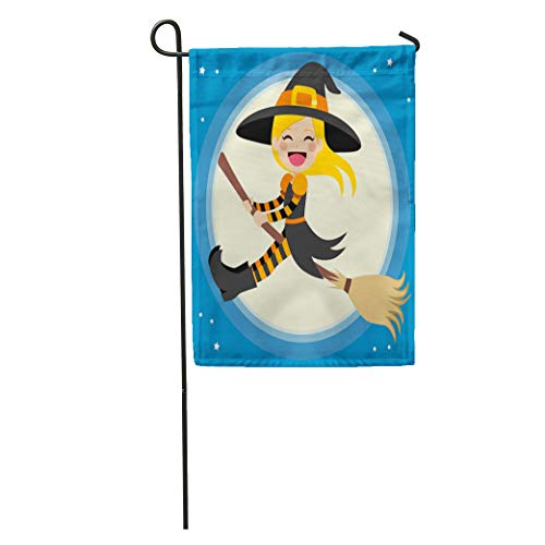 Semtomn Garden Flag Cute Little Blonde Girl Witch Flying in Front of The Home Yard House Decor Barnner Outdoor Stand 28x40 Inches Flag