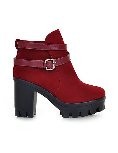 Eu Vestido Marrón Bronceado negro Tacón Zapatos Botas Casual Brown Uk8 Eu42 Cn43 us8 Vellón La Cn39 Redonda us10 A Eu39 Uk6 De Moda 5 Mujer Robusto 5 Xzz Punta Burgundy qStaZP6qw