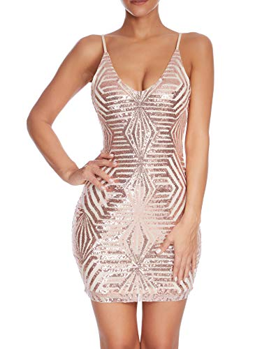 (Madam Uniq Women's Strap Deep V Neck Sequin Sheath Dress Cocktail Dresses (M, Nude))