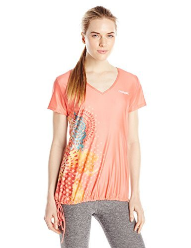 Desigual Women's Pink V Neck T Shirt, Living Coral, X-Small