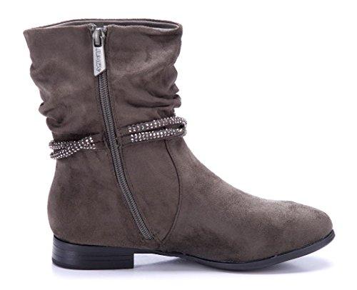 179cc6d93b0aab ... Schuhtempel24 Damen Schuhe Flache Stiefeletten Stiefel Boots Flach  Ziersteine 2 cm Grün ...