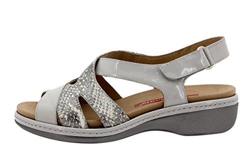 PieSanto Woman Comfort Leather Shoes 1813 Removable Insole Sandal Wide Charol Perla QVqDXBq57