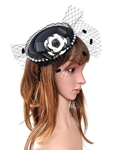 Fascinator Hair Clip Headband Pillbox Hat Victorian Lady Cameo Bowknot mesh Tea Party (C Camellia Black White BW)