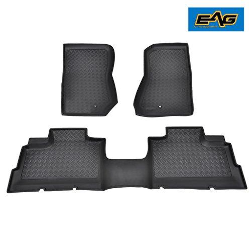 EAG Floor Liner Mats Black Front/Rear Custom 3PCS Fit for 07-13 Jeep Wrangler JK 4 Door Models