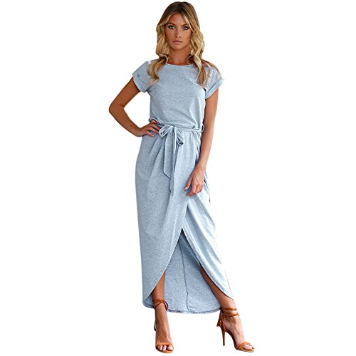 Women Dress,Hot Sale!Leedford New Summer Women Boho Tube Top Solid Sundress Maxi Evening Party Beach Ankle Long Dress (Blue, L)