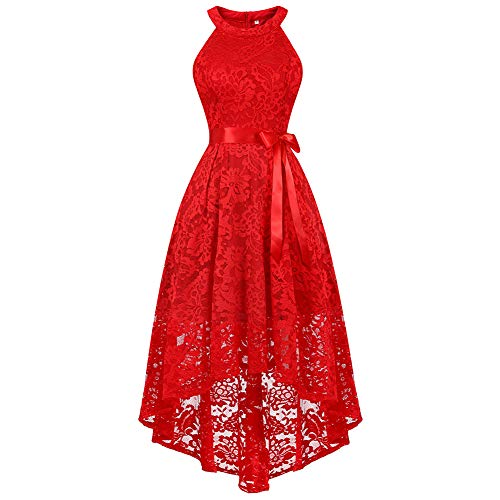 Women's Sleeveless Slim Halter Lace Dress Bridesmaid Party Cocktail Formal Dress, Red, XS]()