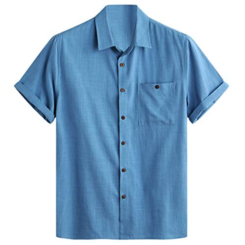 FONMA Mens Cotton Solid Color Turn Down Collar Chest Pocket Loose Casual Shirts Blue