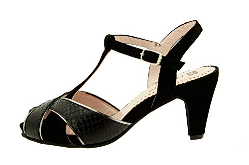 8258 Piesanto Chaussure Cuir Confort Femme Noir En Confortables Sandale Amples OqwOp