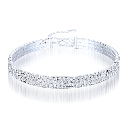 BESPMOSP Silver Plated Crystal Rhinestone Choker 3/4/5/8 Rows Women's Diamond