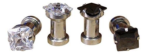 PAIR of Square Cut CZ Gem Prong Set Steel Screw Fit Tunnels Plugs Gauges 8g thru 1/2 inch (Clear Gem - 4g - Gems Square Cut