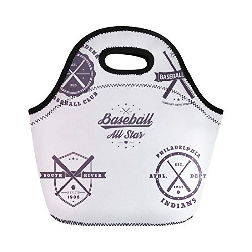 - Semtomn Lunch Tote Bag Graphic Baseball Vintage Emblems Crossed Bats White Jersey Abstract Reusable Neoprene Insulated Thermal Outdoor Picnic Lunchbox for Men Women