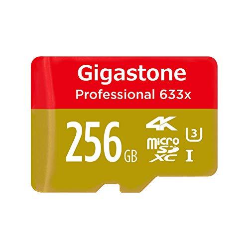 Gigastone 256GB Micro SD Card Professional 4K Ultra HD, Micro SDXC U3 C10 Class 10 Uhs Memory Card High Speed Up to 95MB/S with MicroSD SD Adapter, Camera Canon Dashcam DJI Drone Gopro Nikon Nintendo