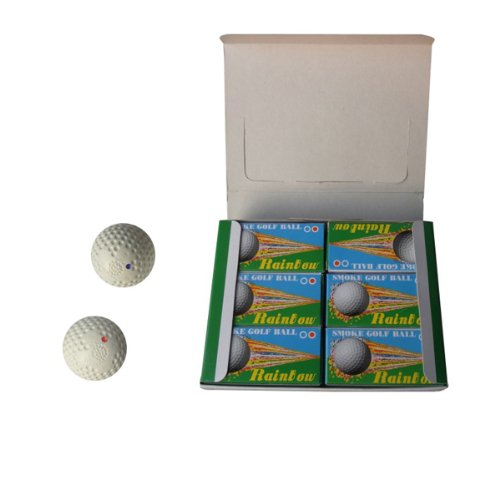Wotefusi New Brand Blue And Red Smoke Golf Balls Of Double-Layer White With Qty 1 Dozen