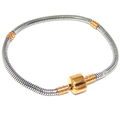 Stainless Steel Starter Charm Bracelet Barrel Gold Tone Snap Clasp Fits Pandora Charms (8 inch) (Connections From Hallmark Jewelry)