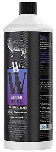 WONDER WOOL WASH (32 OZ) Fine Fabric Laundry Detergent - Enriched w/ Lanolin & Lemongrass Oil - Specially Formulated for Cashmere, Wool & Delicate Garments - Biodegradable, Non-Scented, Non-Synthetic Wash Wool Clothes