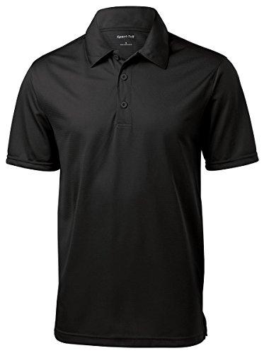 Sport-Tek Active Textured Polo Shirt, XL, Black (Polo Mesh Textured Shirt)