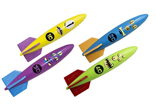 SwimWays Toypedo Bandits Pool Diving Toys - Sinking Torpedo Swim Toys - Pack of 4