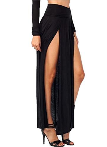 Spikerking Women's Sexy High Waisted Double Slits Elastic Open Cotton Long Maxi Skirt,(Size:Small)Black