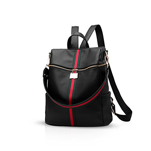 niña amp; Venta mujer caliente negro mochila 3 NICOLE PU Negro escolar cuero clásica mochila DORIS mochila xwXTnggH