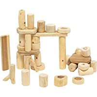 Constructive Playthings Tree Blocks, Set of 36 Hand-Cut Wood Pieces, Various Shapes and Shades, STEM Approved